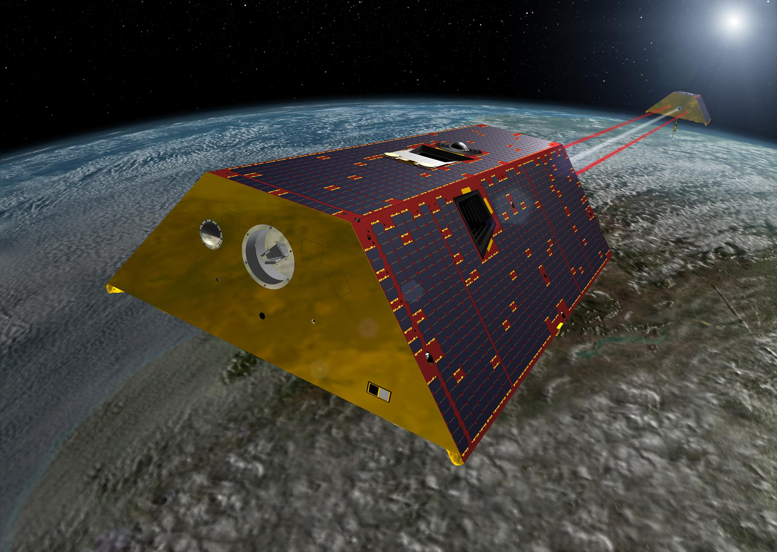 Artist concept of the GRACE-FO satellite