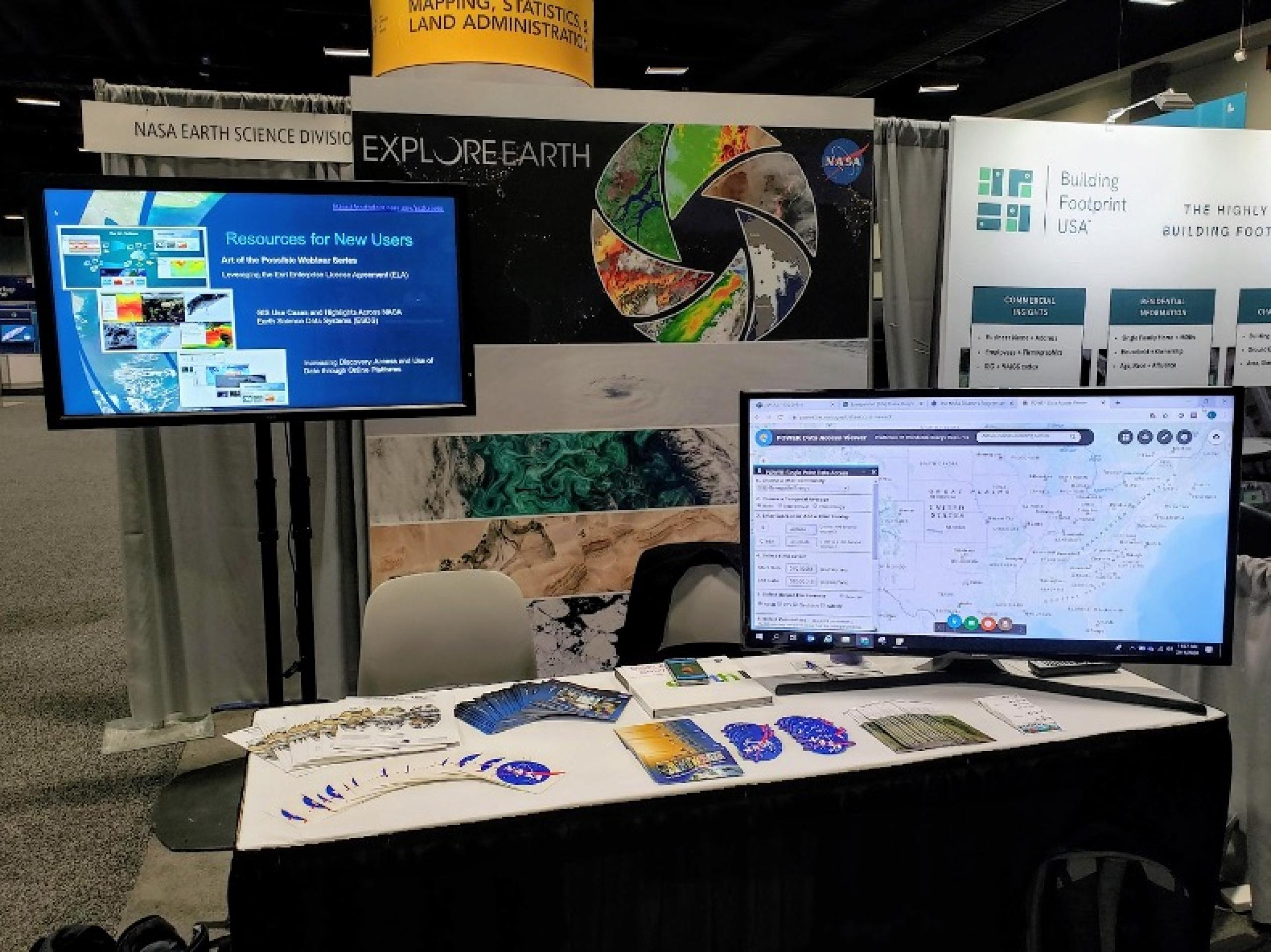The NASA booth ready to go at the Esri Fed GIS conference in Washington DC, February 2020. Credit: NASA
