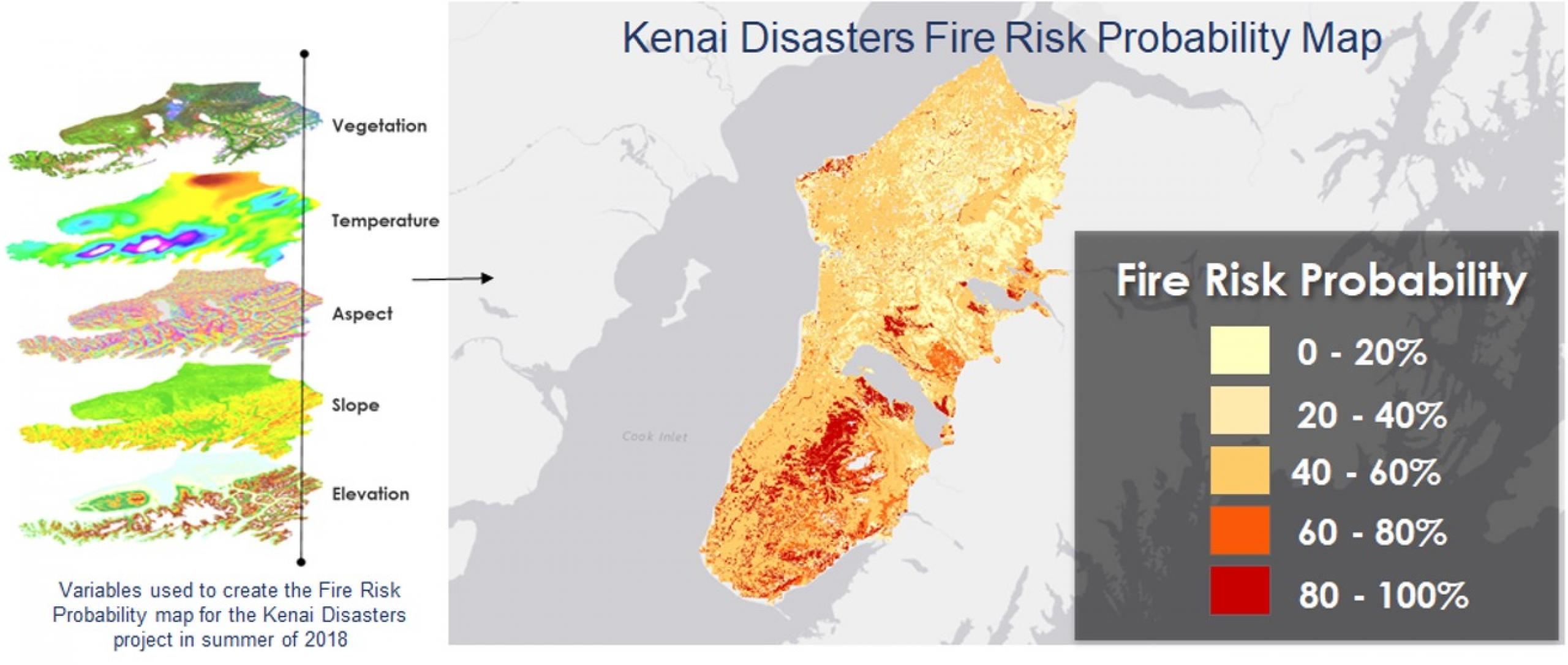A map from a DEVELOP project showing fire risk in 2018 in the Kenai National Wildlife Refuge, Alaska. Credit: NASA