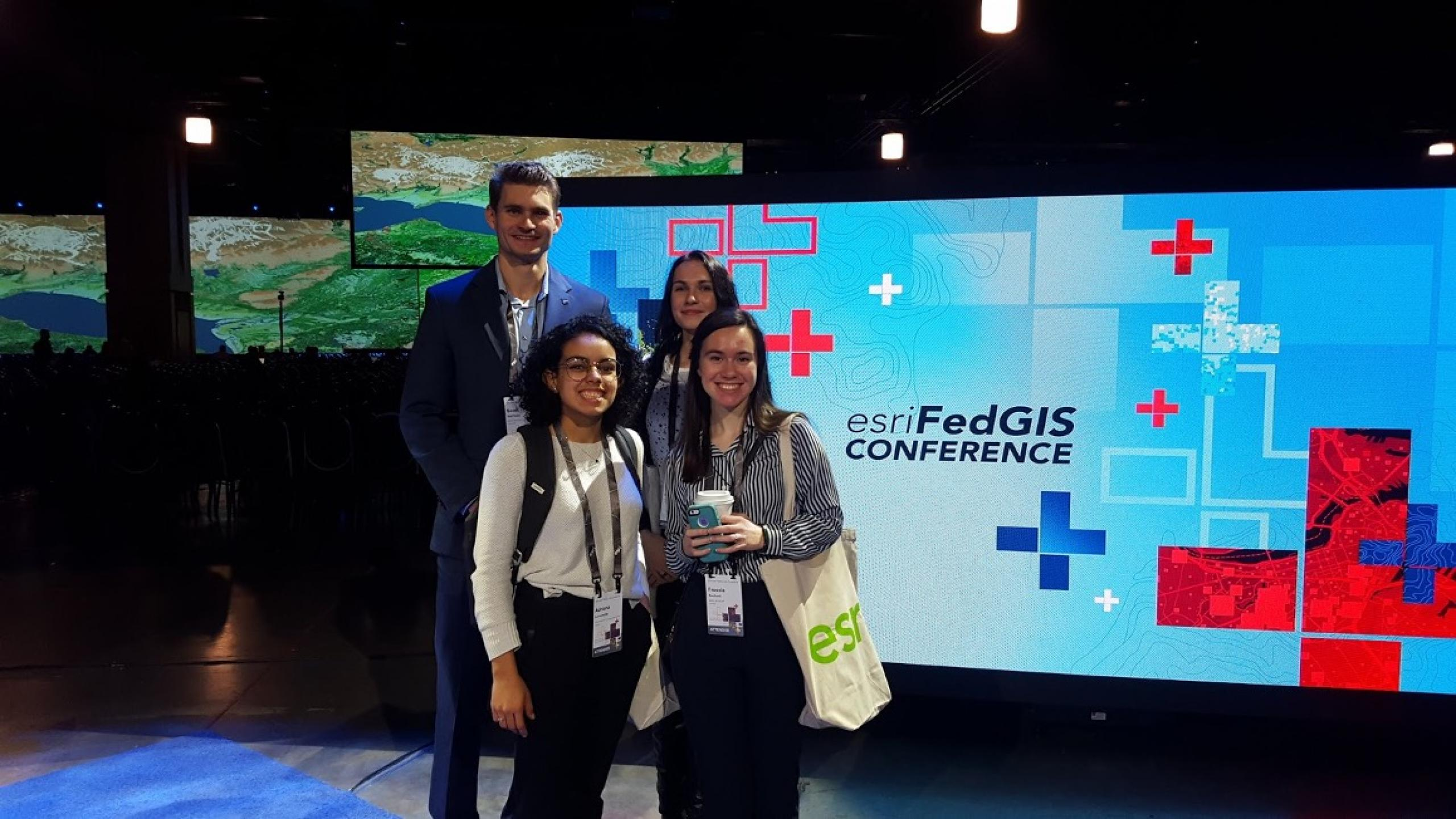 The Capacity Building Program attended the Esri Federal GIS conference to learn more about applications and new technology. This photo shows participants from the DEVELOP Langley – Virginia location on February 12, 2020. Credit: NASA