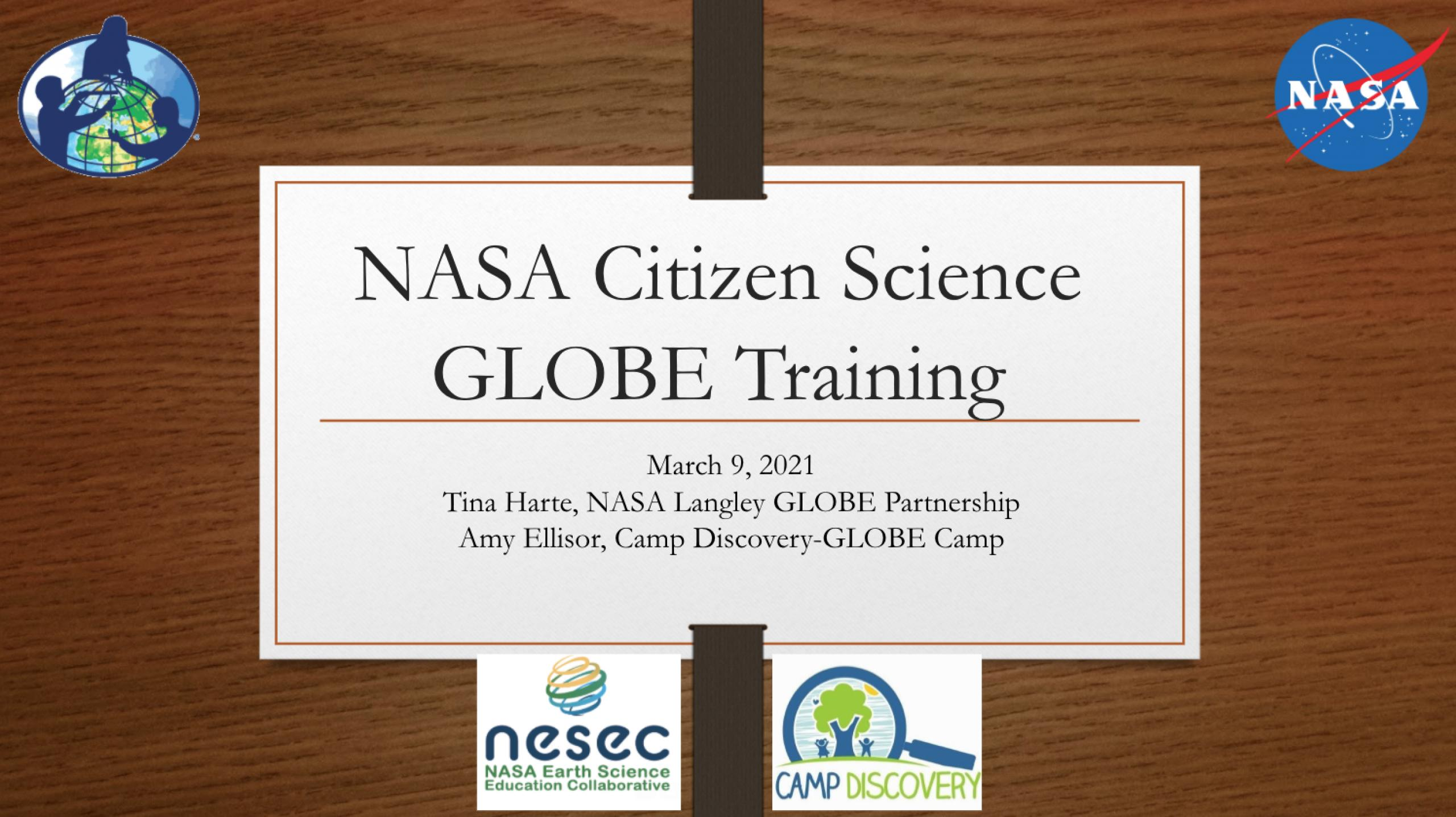 Intro slide for NASA Citizen Science GLOBE Training.