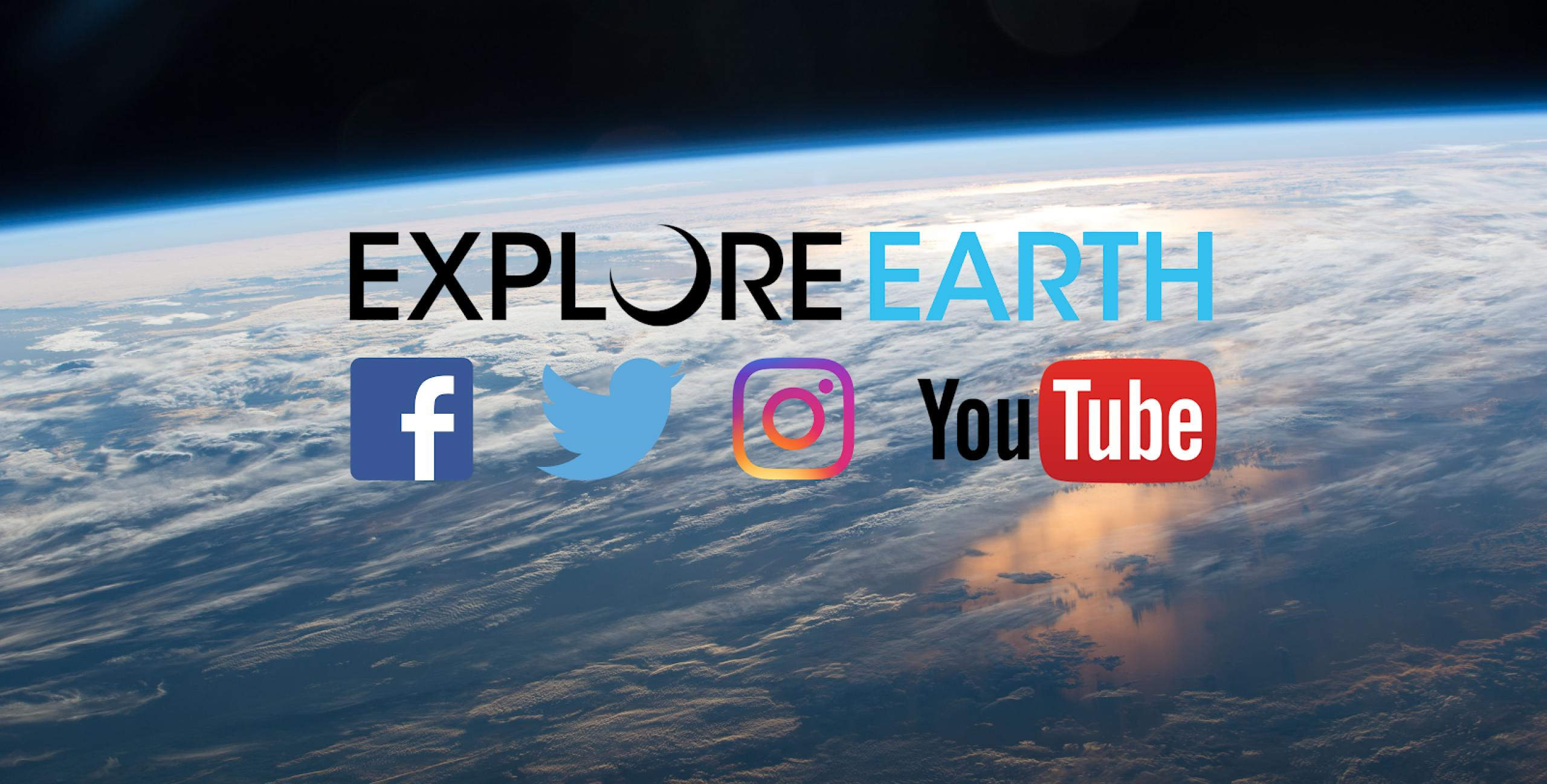 Social media icons overlaying an image of the earth