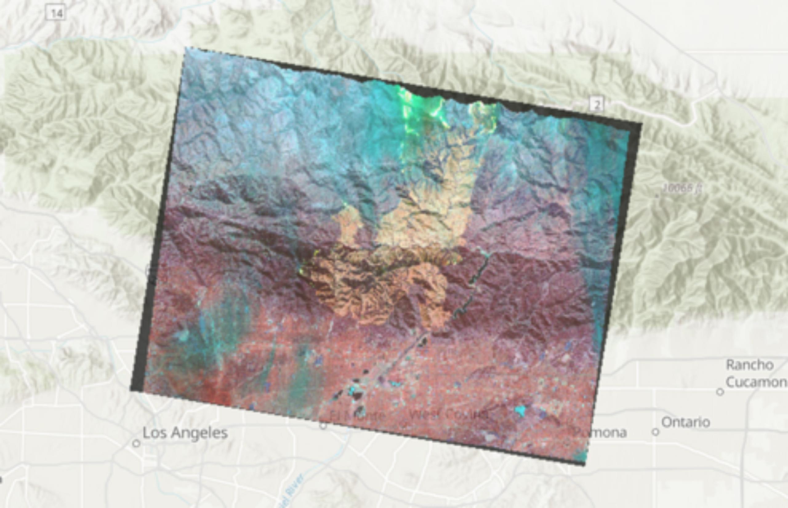 Map of elevation near Los Angelos