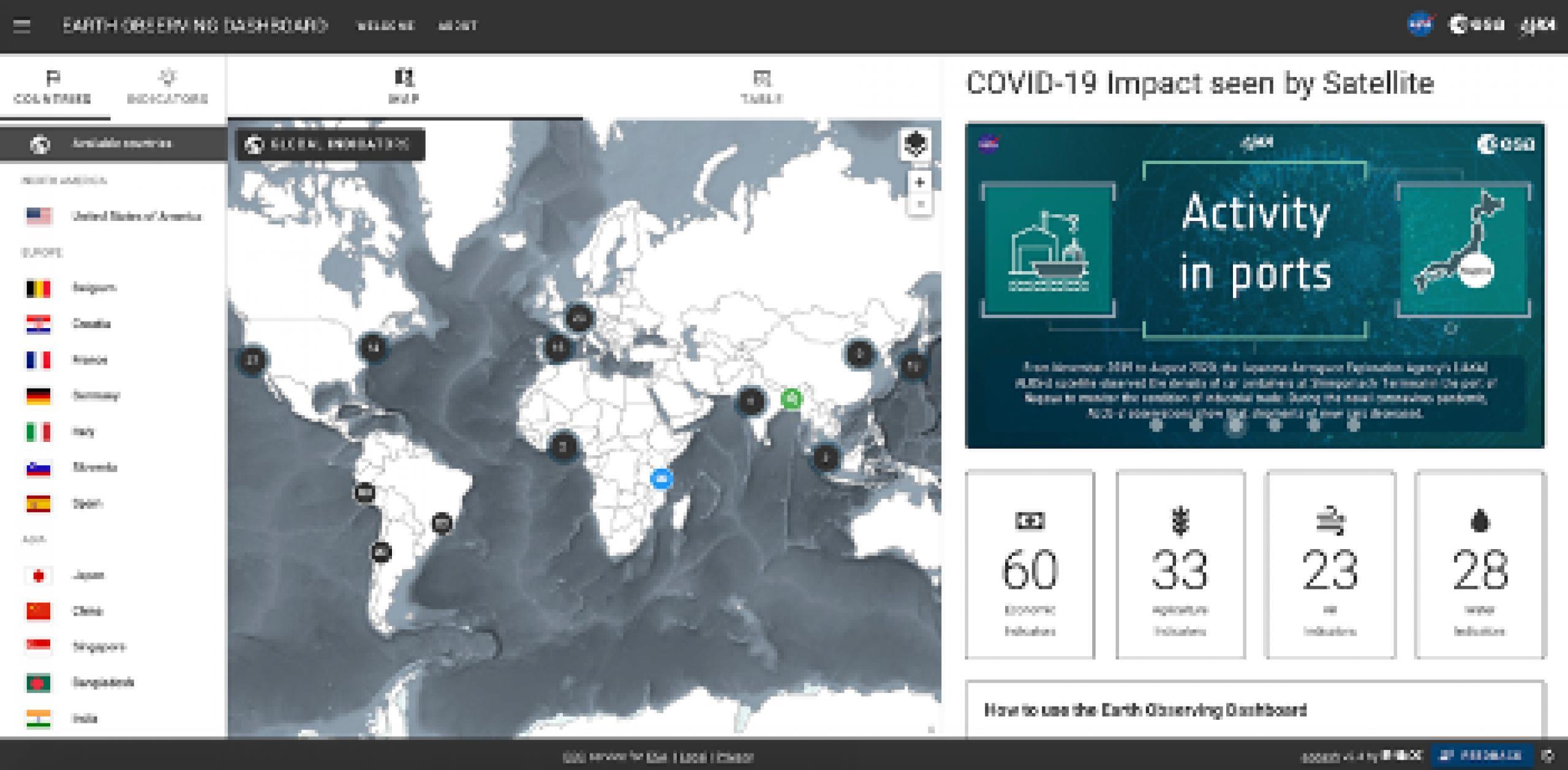 Screenshot of website application for an earth observation dashboard
