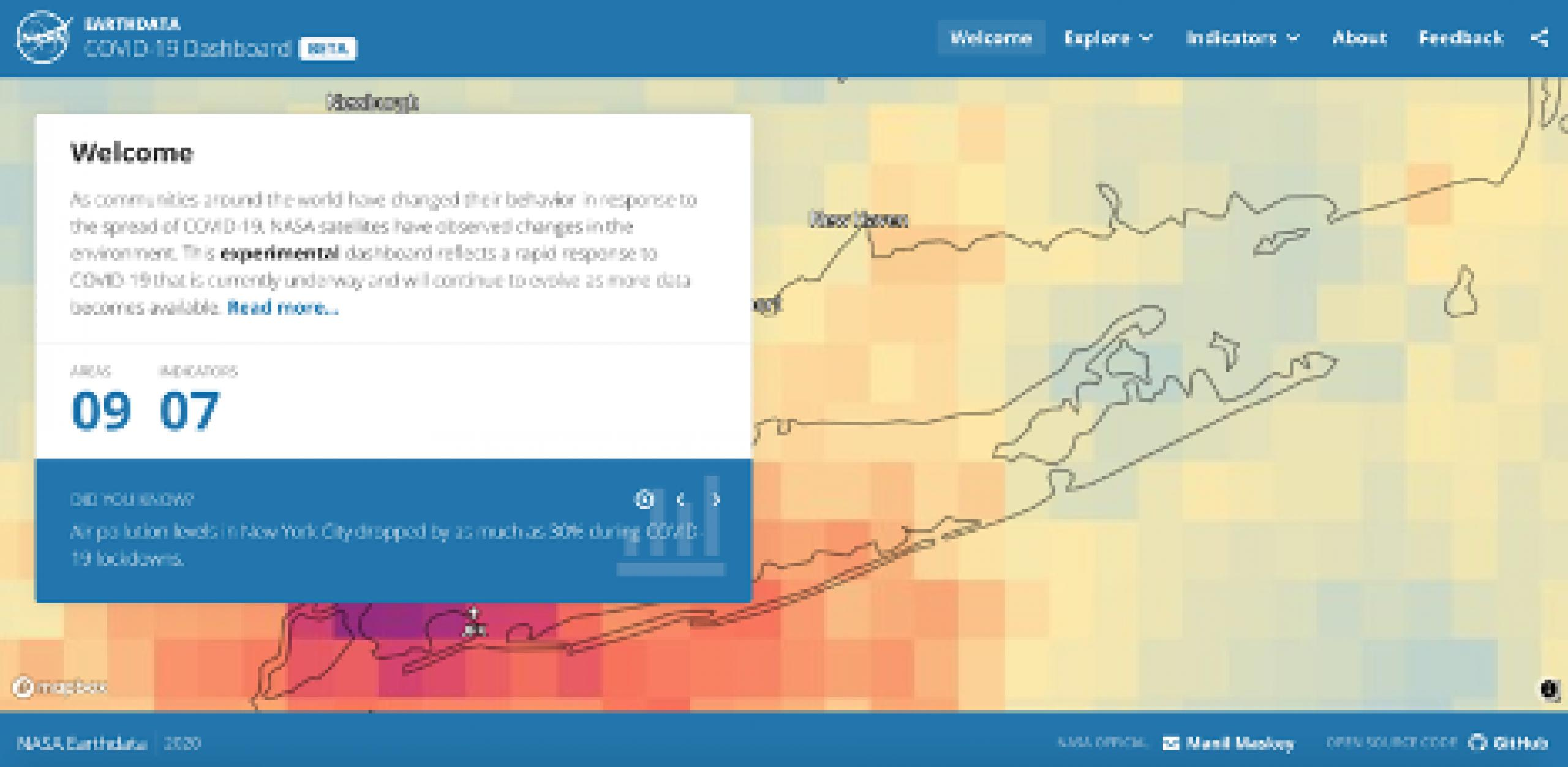 Screenshot of website application for COVID data