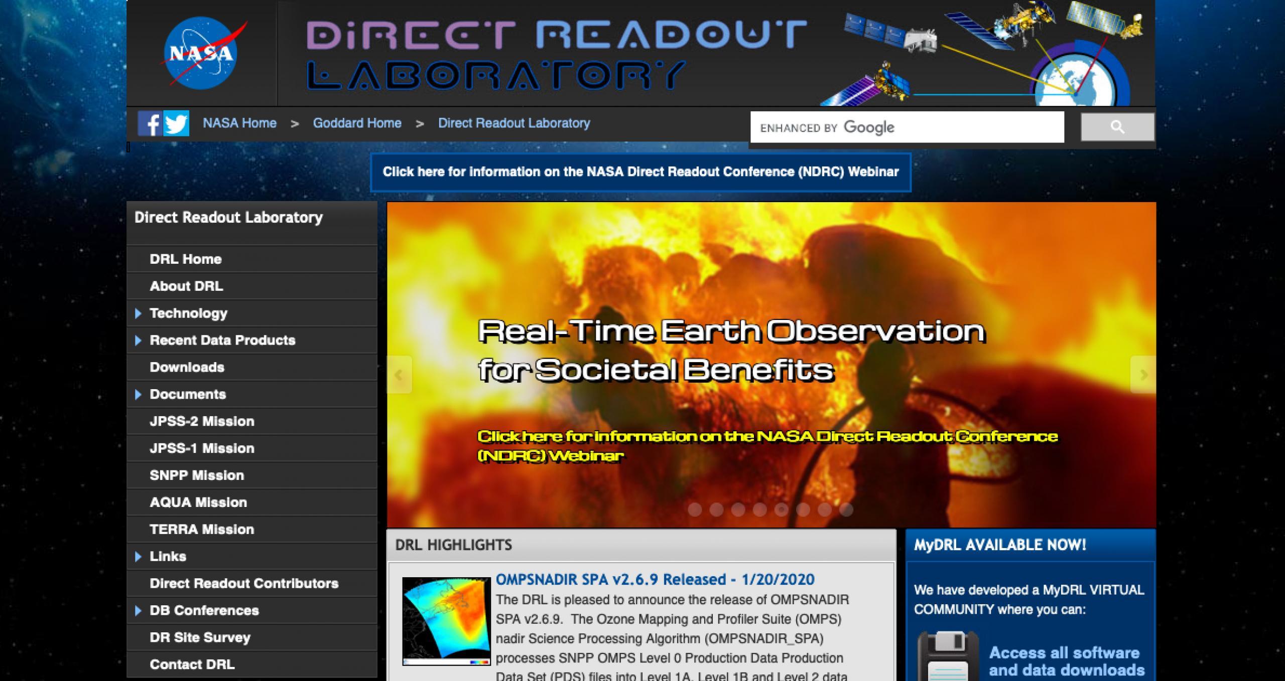 Screenshot of Direct Readout Laboratory website