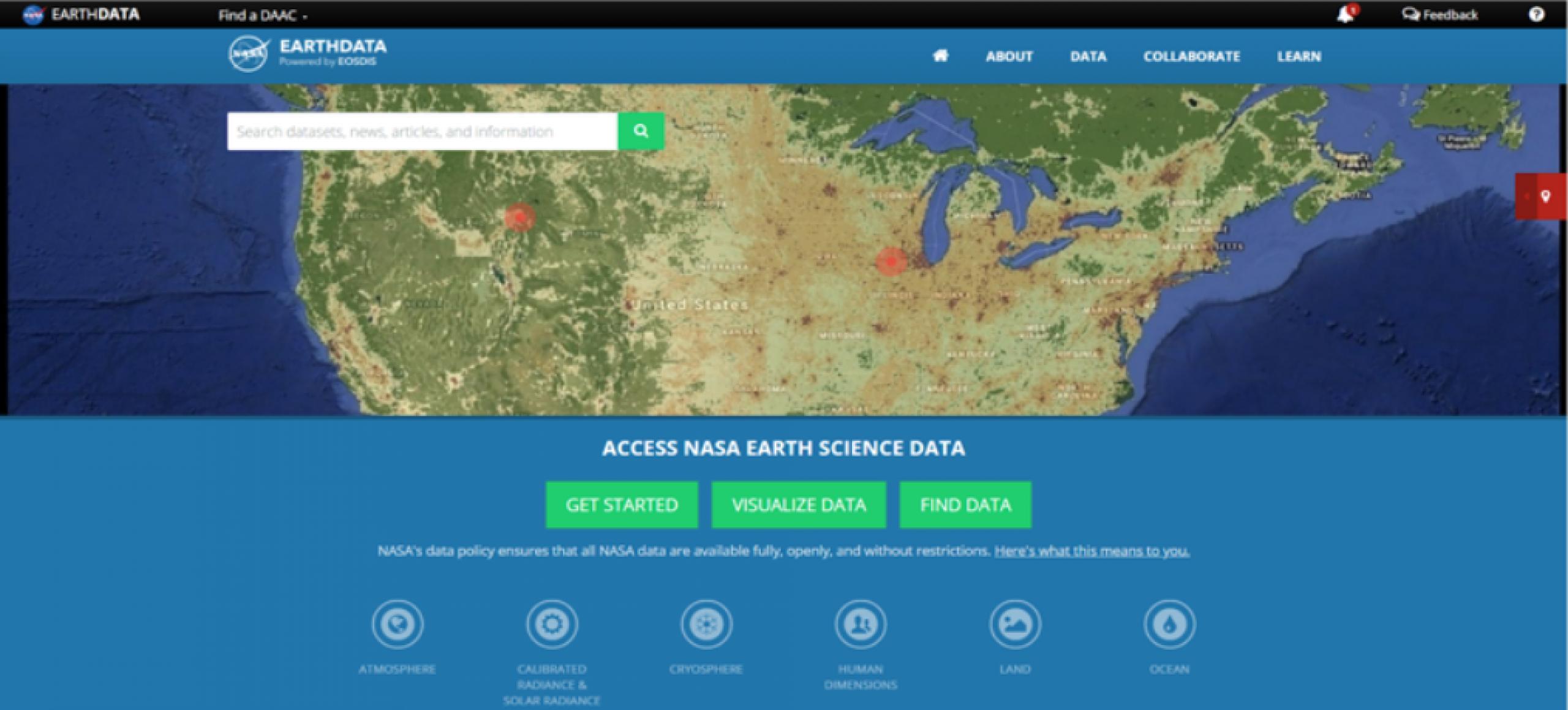 Screenshot of earth science data dashboard