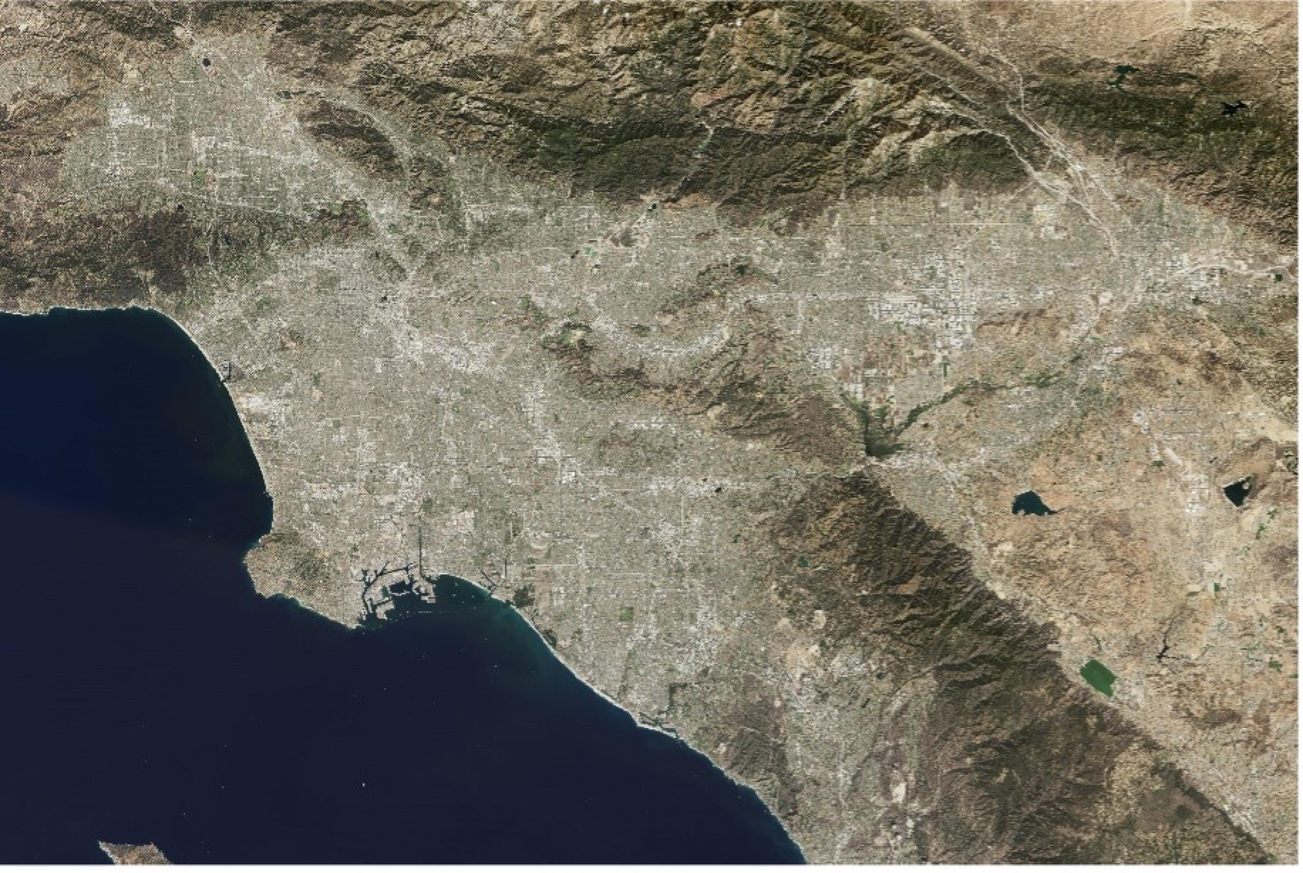 Landsat satellite image of the LA region.