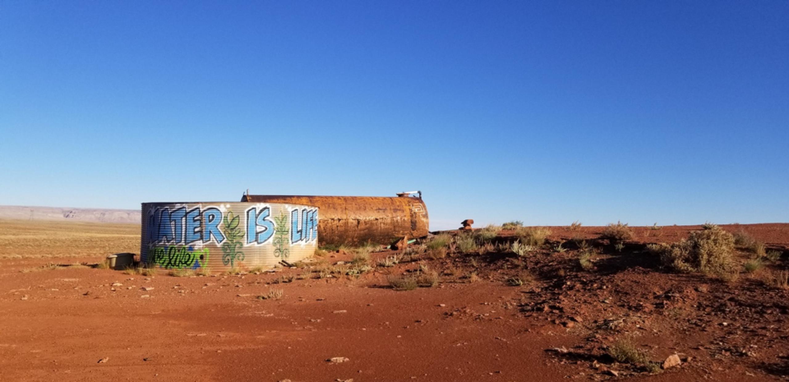 Photo of water tank on Navajo land in Arizona