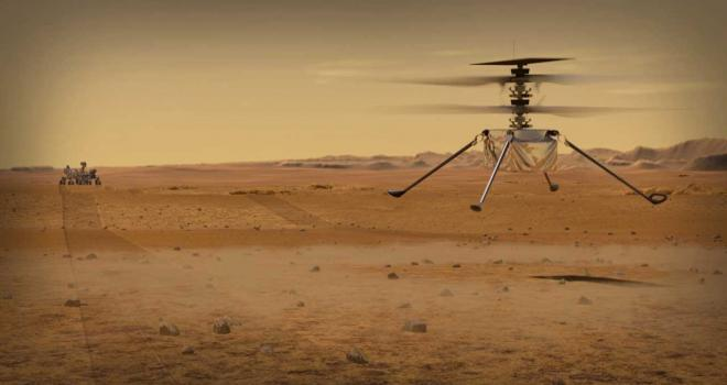 Artist concept of helicopter landing on Mars