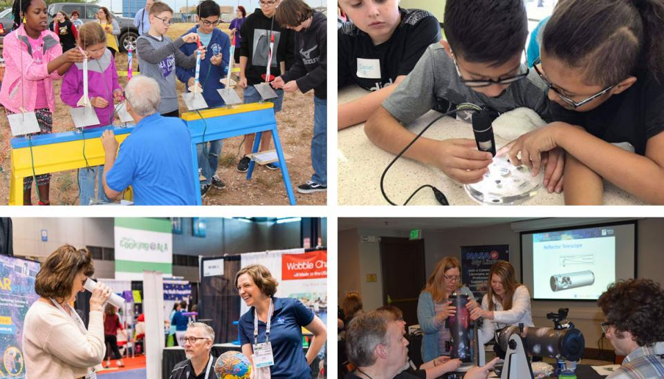 Collage of four photos. The top left is of students preparing miniature rockets outside. The top right is of students shining a light on a circular piece of glass. The bottom left is of a woman looking through a tube at an exhibition booth. The bottom right is of adults examining reflector telescopes.
