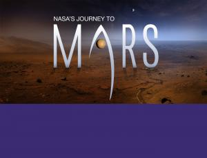 NASA's Journey to Mars logo on top of the surface of Mars