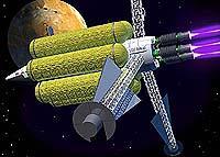 Plasma Propulsion Space Ship in orbit