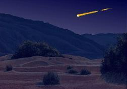 Artist Duane Hilton's concept of a Lyrid meteor over Death Valley