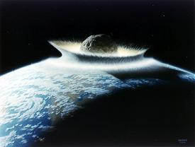 Artist's concept of a catastrophic asteroid impact with the Earth.