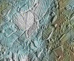 Fractured terrain on Europa -- image credit: Galileo