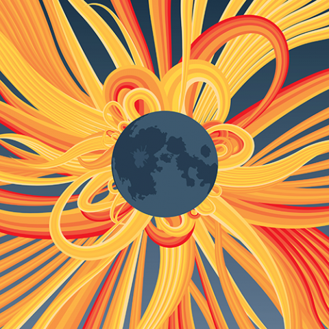 Artistic illustration of solar eclipse around Earth