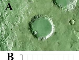 A typical modified impact crater on Mars