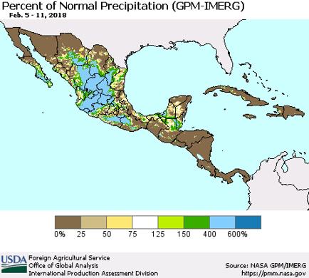 Precipitation map of Mexico and Central America