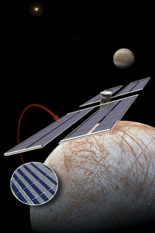 Artist concept of spacecraft with mirrors in orbit