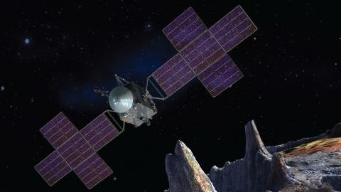 Artist concept of NASA's Pysche probe in orbit