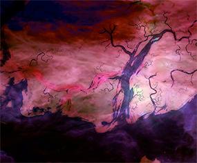 Artwork of Hubble satellite imagery