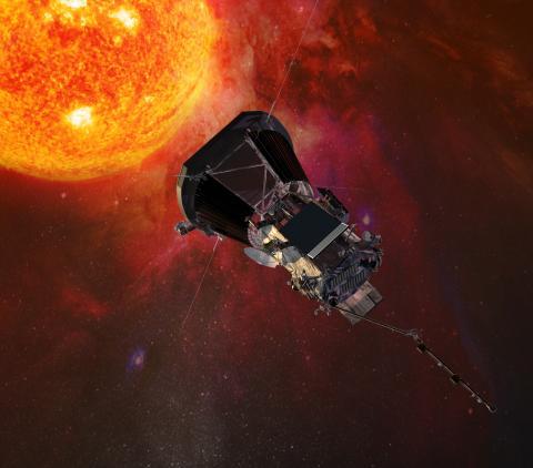 Artist concept of Parker Solar Probe spacecraft near the sun