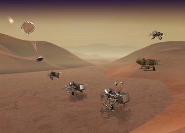 Artist concept of spacecraft landing on Titan