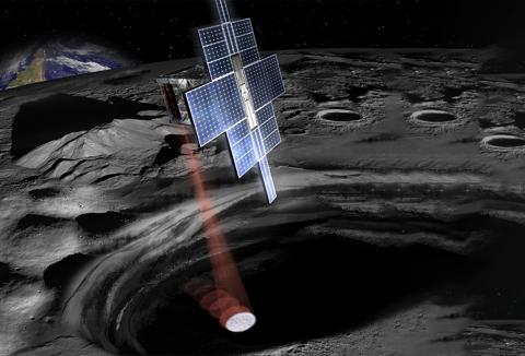 Artist concept of SmallSat in orbit