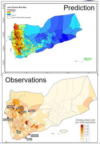 Cholera risk prediction map for Yemen