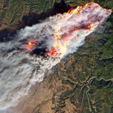 Satellite image of smoke from fire