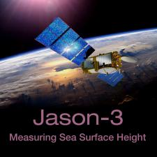 Illustration of Jason-3 spacecraft with earth in background