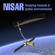 NISAR spacecraft in orbit over the earth