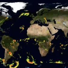 Visualization of global precipitation