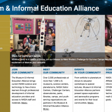 Screenshot of NASA's Museum Alliance Web Site
