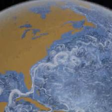 Simulation of ocean currents around the world