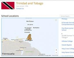Google map image with pins representing Trinidad and Tobago school locations