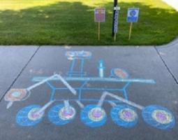 Perseverance Rover sidewalk chalk drawing