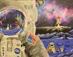 Painting of astronaut with space background