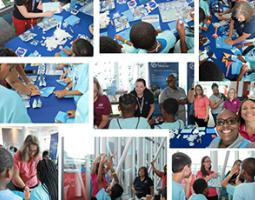 Collage of young students participating in hands-on activities