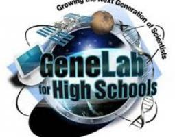 GeneLab for High School logo: computer, satellite and dna illustrations surrounding a sphere