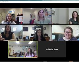 Six women webcam with a small classroom of middle schoolers