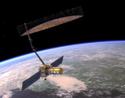 Image of satellite orbiting around earth