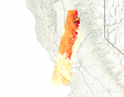 Satellite data of camp fire in California
