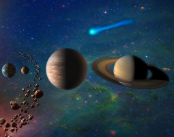 Artist concept of the solar system