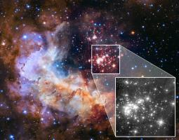 This image of the Westerlund 2 cluster includes both visible- and infrared-light observations from Hubble, and was released in 2015 as part of the Hubble Space Telescope's 25th anniversary. The highlighted area, featuring the cluster of stars, was created from visible-light and near-infrared exposures. The black-and-white zoomed portion shows a new image of the star cluster in only one infrared wavelength.