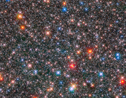Dense field of stars in many colors