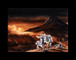 Artwork of astronauts on moon