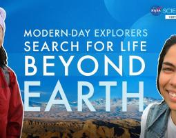 Screenshot with two women and the title Search for Life Beyond Earth - NASA Science Live