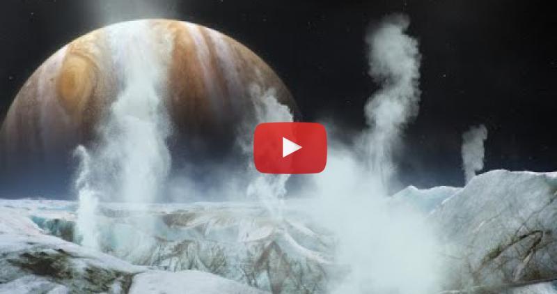 Artist collage with Jupiter in the background behind a frozen landscape